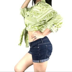 Chico's Tribal Lime Green Cotton Button Up